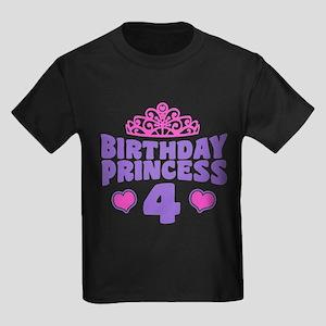 4th Birthday Princess Kids Dark T-Shirt