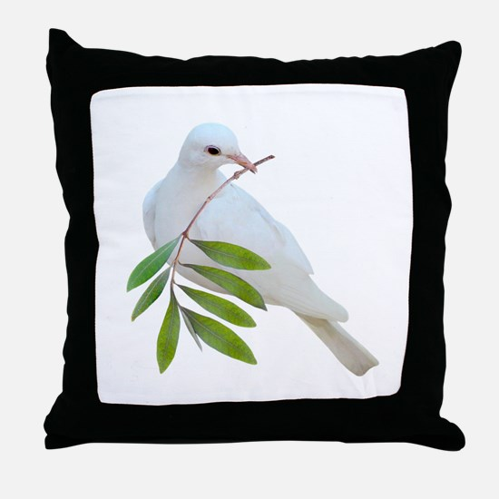 Dove Olive Branch Throw Pillow