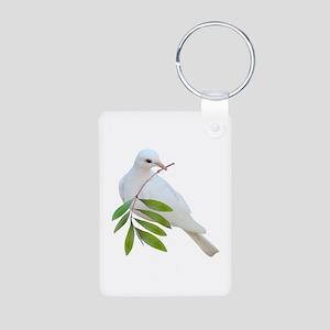 Dove Olive Branch Aluminum Photo Keychain