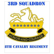 DUI - 3rd Sqdrn - 8th Cavalry Regt with Text Mini Poster