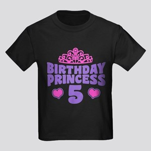 5th Birthday Princess Kids Dark T-Shirt
