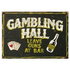 Gambling Hall, Leave Guns At Bar Framed Print Poster