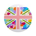 Heart filled Union Jack Flag Ornament (Round)