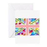 Heart filled Union Jack Flag Greeting Cards (Pk of