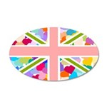 Heart filled Union Jack Flag 38.5 x 24.5 Oval Wall