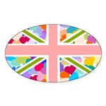 Heart filled Union Jack Flag Sticker (Oval 50 pk)