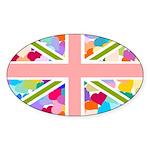 Heart filled Union Jack Flag Sticker (Oval)