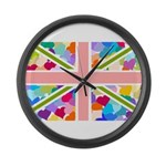 Heart filled Union Jack Flag Large Wall Clock