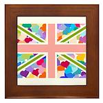 Heart filled Union Jack Flag Framed Tile