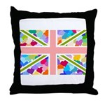 Heart filled Union Jack Flag Throw Pillow