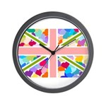 Heart filled Union Jack Flag Wall Clock