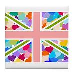 Heart filled Union Jack Flag Tile Coaster