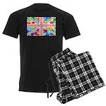 Heart filled Union Jack Flag Men's Dark Pajamas