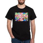 Heart filled Union Jack Flag Dark T-Shirt