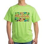Heart filled Union Jack Flag Green T-Shirt