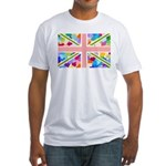 Heart filled Union Jack Flag Fitted T-Shirt