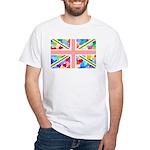 Heart filled Union Jack Flag White T-Shirt