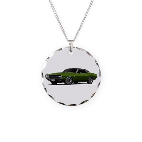 1970 Challenger Dark Green Necklace Circle Charm