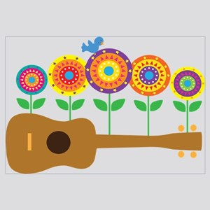 Ukulele Flowers Wall Art