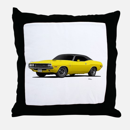 1970 Challenger Bright Yellow Throw Pillow