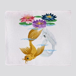 Gold and Silver Koi with Lili Throw Blanket