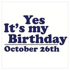 October 26th Birthday Wall Art Poster