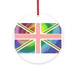 Rainbow Union Jack Flag Ornament (Round)