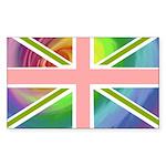 Rainbow Union Jack Flag Sticker (Rectangle 10 pk)