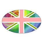 Rainbow Union Jack Flag Sticker (Oval 10 pk)