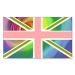 Rainbow Union Jack Flag Sticker (Rectangle)