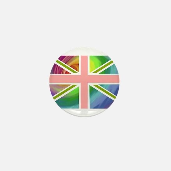 Rainbow Union Jack Flag Mini Button