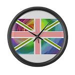 Rainbow Union Jack Flag Large Wall Clock