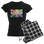 Rainbow Union Jack Flag Women's Dark Pajamas