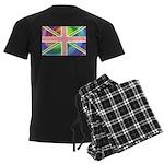 Rainbow Union Jack Flag Men's Dark Pajamas