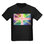 Rainbow Union Jack Flag Kids Dark T-Shirt