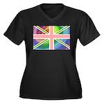 Rainbow Union Jack Flag Women's Plus Size V-Neck D
