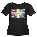 Rainbow Union Jack Flag Women's Plus Size Scoop Ne