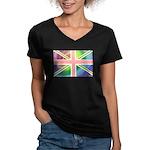Rainbow Union Jack Flag Women's V-Neck Dark T-Shir