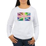 Rainbow Union Jack Flag Women's Long Sleeve T-Shir