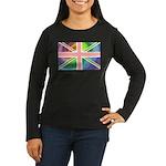 Rainbow Union Jack Flag Women's Long Sleeve Dark T