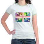 Rainbow Union Jack Flag Jr. Ringer T-Shirt