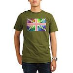 Rainbow Union Jack Flag Organic Men's T-Shirt (dar