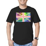 Rainbow Union Jack Flag Men's Fitted T-Shirt (dark