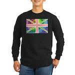Rainbow Union Jack Flag Long Sleeve Dark T-Shirt
