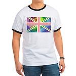 Rainbow Union Jack Flag Ringer T