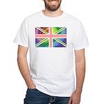 Rainbow Union Jack Flag White T-Shirt