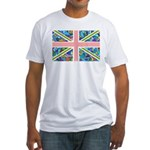 Blue Gaudi-inspired Union Jac Fitted T-Shirt