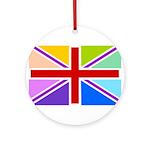 Rainbow British Flag Ornament (Round)