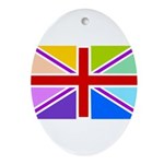 Rainbow British Flag Ornament (Oval)