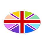 Rainbow British Flag 38.5 x 24.5 Oval Wall Peel